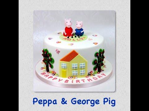Cake Decorating - How to make a Peppa Pig & George Pig Cake or Cupcake Fondant Topper Tutorial