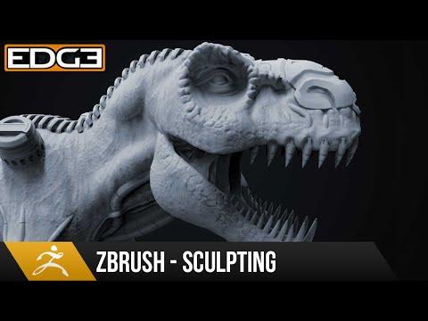 #1 Zbrush Sculpting Tutorial for Beginners Series - Organic & Hard-Surface T-Rex 1080p HD