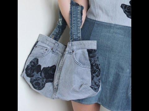 Recycled Jeans BAG (How to make a denim bag) DIY Bag Vol 1B