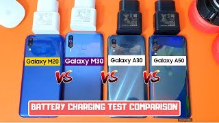 Samsung M20 VS Samsung M30 VS Samsung A30 VS Samsung A50 Battery Charging Test C