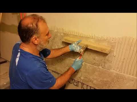 Install Large Format tiles On Bath Room Wall  - For Beginner  - Part 2   - Tile The Top Row