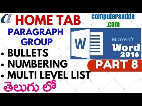 Ms-word 2016 in Telugu 08 (Bullets,Numbering,Multilevel list with logics) (www.computersadda.com)