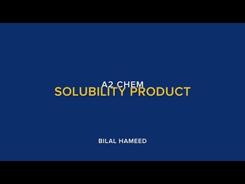 A2 Chem:Solubility Product
