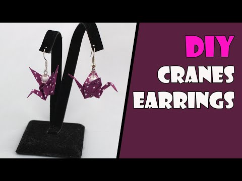 Paper Origami Earrings Cranes/Swans (Origami Jewelry) Instructions