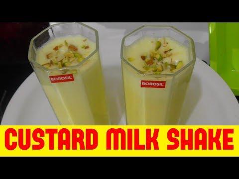 how to make custard milk shake/tasty & easy chilled custard milk shake for summer