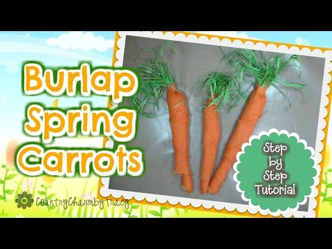 Burlap Spring Carrots Using Tissue Paper | #thiscraftylife