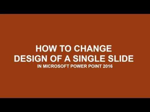 Change Background Design for a single or selected slides in Microsoft power point