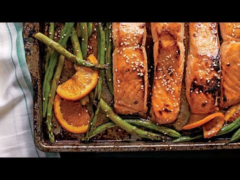 Honey-Soy-Glazed Salmon with Veggies and Oranges | Southern Living