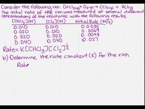 Determine the rate constant (k) for a reaction