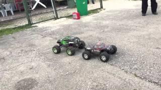 Traxxas Summit vs Hpi Savage Flux 1/8 on asphalt