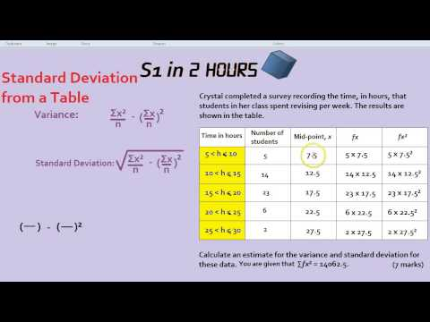 S1 in 2 Hours: Standard Deviation from a Table