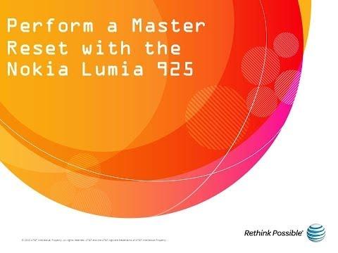 Nokia Lumia 925 : Perform a Master Reset