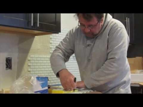 Glass mosaic tile kitchen backsplash time lapse