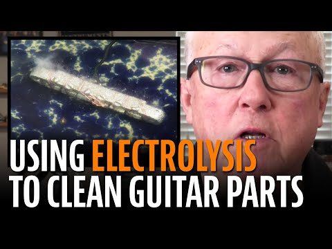 Cleaning guitar parts with electrolysis