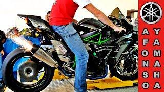 Kawasaki Ninja H2 No Dianamômetro Soltando Fogo Pelo Escapamento #topspeed 375
