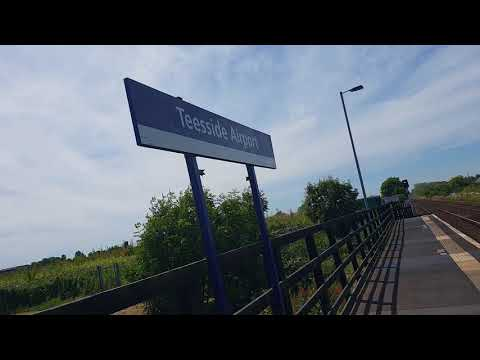 The arrival at Teesside Airport station