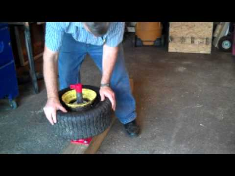 How to remove tires and inner tubes from lawn tractor rim.