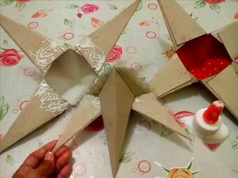 DIY# 26 3D STAR ORNAMENT / PAROL MADE OF RECYCLED CARTON BOX