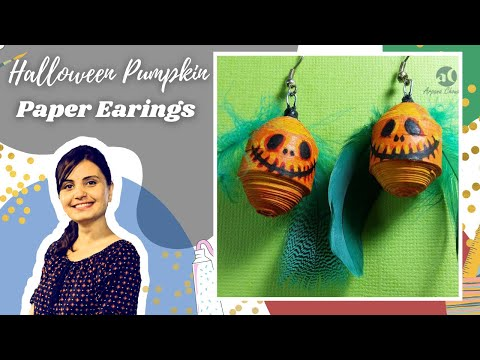 How to make paper jewelry | Halloween Pumpkin Paper Earrings | Easy Paper Quilling Fun Craft Project