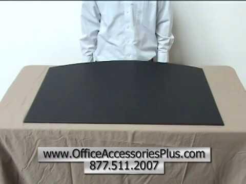 Black Leather Desk Mat 34x20 - Office Accessories Plus