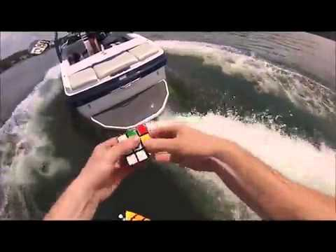 rubiks cube solved by rod bagheri while wakeboarding