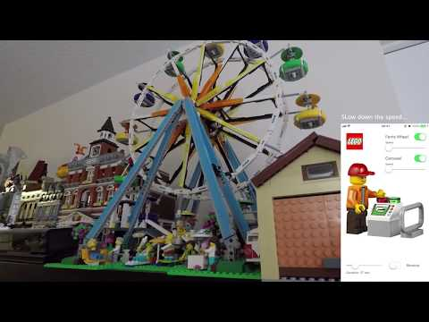 Motorized Lego Carousel 10257 and Ferris wheel 10247 with iOS app remote control