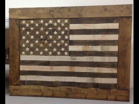 DIY Rustic Pallet Wood American Flag  USA