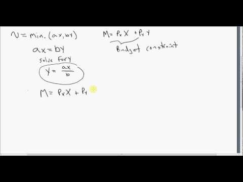 Perfect Complement Utility Funtions: Deriving Demand Functions