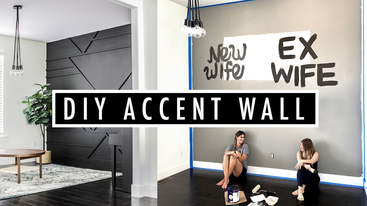 black accent wall diy   Geometric wood accent wall   Pinterest inspired accent wall