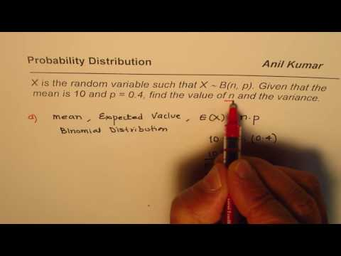 Find Variance and Number of Trials for Binomial Distribution