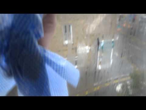 Condensation between double glazing.