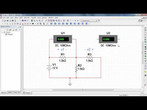 NI Multisim: Measure DC voltage with a voltmeter indicator