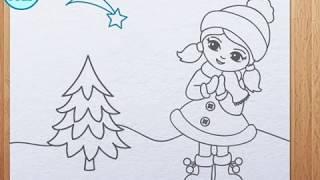 आओ  चित्र बनाना सीखें How to draw girl