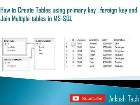 Create multiple tables with a relationship primary key , foreign key and join multiple tables