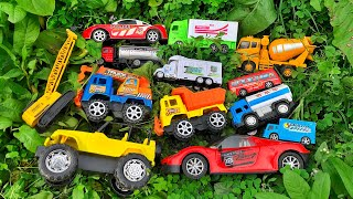 Hiding the toy vehicles in the village house | Dump Truck, Racing Car, Police Car & others vehicles