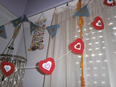 Diy How to make a heart garland