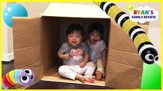 Twins baby hiding and playing in a box! Family fun kids pretend playtime with Ryan