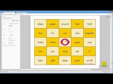 Creating Sight Words Bingo Cards
