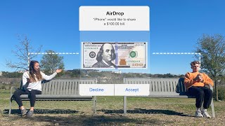 AirDropping ACTUAL $100 Bills To Strangers