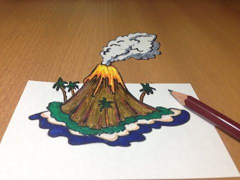 3D Volcanic Island Drawing, Anamorphic Illusion