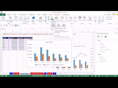 Highline Excel 2013 Class Video 45: Combining Chart Types and Secondary Axis in Excel 2013