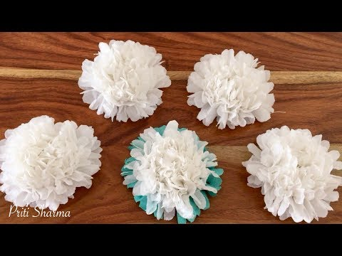 How To Make Small Tissue Paper Flower / Simple Tutorial Tissue Paper Flower   Priti Sharma