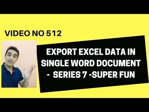 Learn Excel- Video 512- VBA- EXPORT MULTIPLE EXCEL DATA IN WORD Series 6
