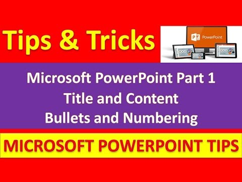 Microsoft PowerPoint Part 1 : Title and Content : Bullets and Numbering [Urdu / Hindi]