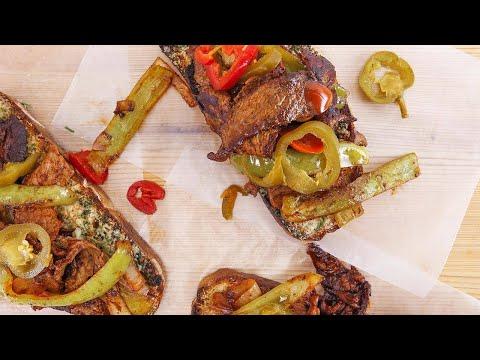 Rachael's Italian Pepper Steak on Garlic Toast