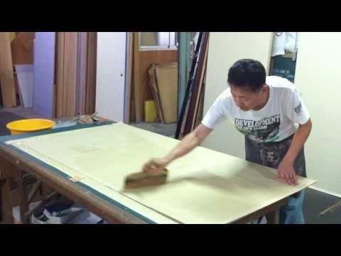 Japanese traditional artisan(making paper slide door