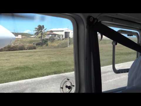 Taking off at Montserrat's John B. Osborne Airport (March 2014)