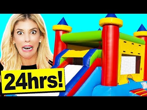 24 Hours in a BOUNCE HOUSE in my LiViNG ROOM!