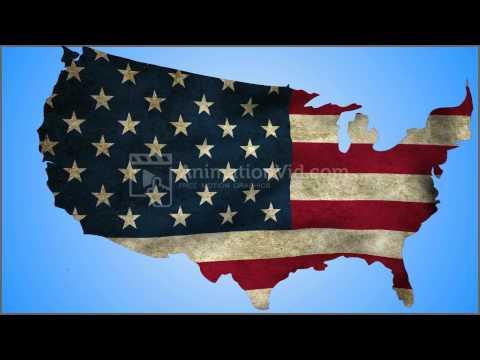 US Nation Shaped Waving Flag Animation Background