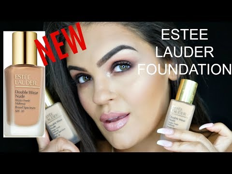 NEW ESTEE LAUDER DOUBLE WEAR NUDE FOUNDATION WATER FRESH MAKEUP | FIRST IMPRESSIONS & REVIEW